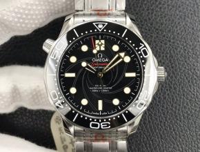 OR厂欧米茄男款黑盘钢带海马300米自动机械手表