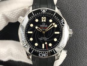 OR欧米茄海马300米男款黑盘橡胶带42mm手表