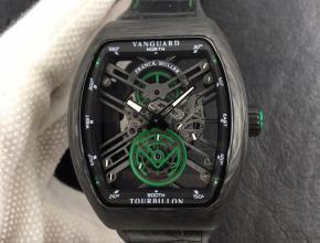 法兰克穆勒复刻手表男款黑盘黑带全自动机械皮带手表