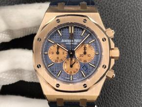 OM厂复刻手表爱彼皇家 橡树男款蓝盘26331计时系列自动机械皮带腕表