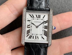 K11厂卡地亚复刻手表女士坦克系列白盘黑带机械手表
