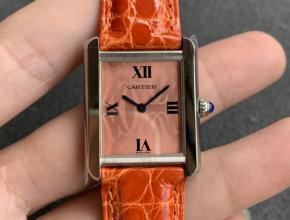 K11厂复刻手表卡地亚女装坦克系列粉盘橙带自动机械皮带手表