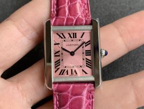 K11厂复刻手表卡地亚女款坦克系列粉盘粉带手表
