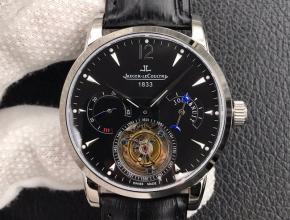 积家复刻手表男士黑盘黑带 多功能系列陀飞轮机械手表
