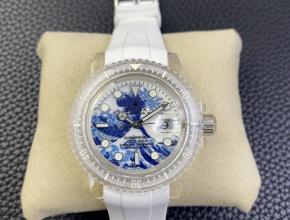 复刻手表劳力士白盘橡胶带透明水鬼男款超强夜光手表