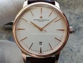 MKS江诗丹顿男款 白盘棕带传承系列85180自动机械皮带手表