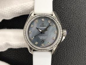 3s欧米茄女款黑盘橡胶带自动机械手表