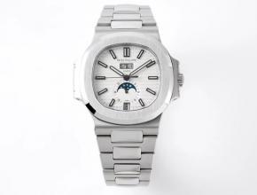 PPF厂复刻手表百达翡丽Nautilus系列年历男款白盘钢带自动机械手表