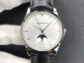 GF积家复刻手表男士白盘黑带正装表大师系列机械皮带手表