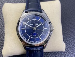ZF复刻手表江诗丹顿男士蓝盘蓝带伍陆之型系列全日历月相手表