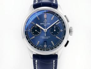 GF复刻手表新品百年男士蓝盘蓝带璞雅B01计时机械皮带手表