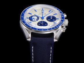 欧米茄复刻手表男装白盘蓝尼龙带史努比系列机械手表