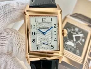 复刻手表积家男士白盘翻转系列黑带手动上链手表