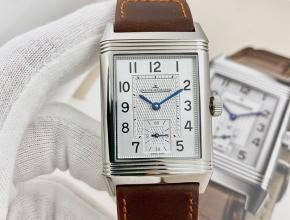 积家复刻手表翻转系列手动上链白盘棕带手表
