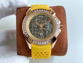 复刻手表杰克宝男款黑盘红带全镂空机芯橡胶带手表