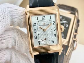 复刻手表积家男士白盘黑带手动上链翻转系列皮带手表