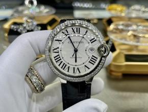 复刻手表卡地亚男款白盘黑带蓝气球42mm自动机械皮带手表