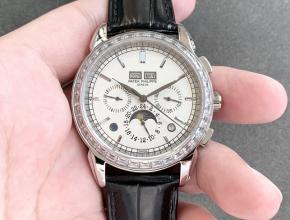 百达翡丽复刻手表复杂功能计时系列男士白盘皮带手表