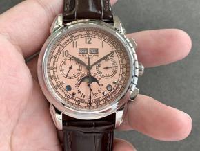 复刻手表百达翡丽男款粉盘棕带超级复杂功能系列皮带手表