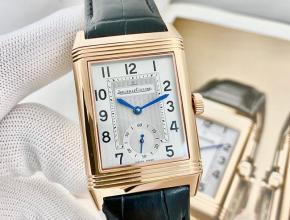 积家复刻手表男款翻转系列白盘黑带手动上链手表