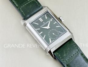 复刻手表积家男款绿盘绿带翻转系列手动上链皮带手表
