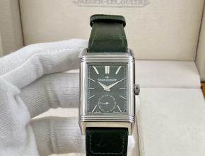 积家复刻手表男士绿盘绿盘翻转系列手动上链皮带手表