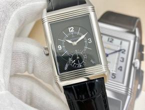 积家复刻手表男款黑盘黑带翻转系列皮带手表