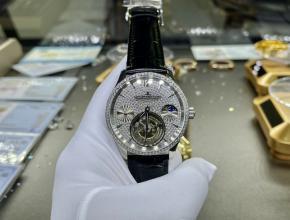 复刻手表积家男装白盘黑带陀飞轮自动机械手表
