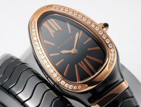 复刻手表宝格丽女装黑盘陶瓷表带石英手表
