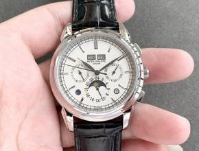 复刻手表百达翡丽男装白盘黑带超级复杂功能计时系列皮带手表