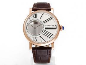 复刻手表卡地亚男士白盘棕带全自动机械皮带手表