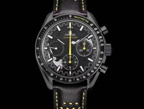 复刻手表欧米茄男款黑盘黑带超霸月之暗面自动机械皮带手表
