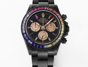 劳力士复刻手表迪通拿系列黑盘黑带机械手表