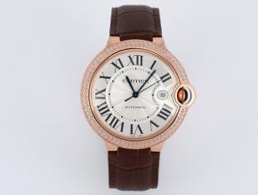 V6厂复刻手表卡地亚男装白盘棕带蓝气球系列皮带机械手表