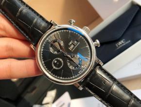 原单手表万国男士黑盘黑带柏涛菲诺机械六针计时皮带手表