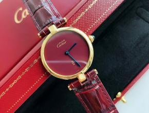 原单手表卡地亚女款红盘红带石英手表
