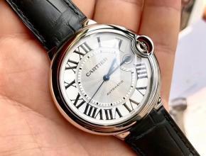 原单手表卡地亚全自动机械男士白盘黑带蓝气球系列皮带手表