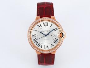 V6厂复刻手表卡地亚男款白盘红带蓝气球系列自动机械皮带手表