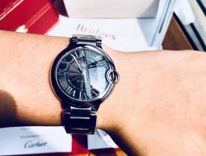 原单手表卡地亚蓝气球系列男装黑盘钢带全自动机械手表