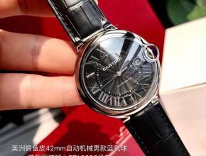 原单手表全自动机械皮带卡地亚男装黑盘黑带蓝气球系列手表
