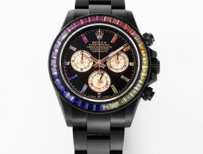 复刻手表劳力士男款黑盘钢带迪通拿系列机械手表