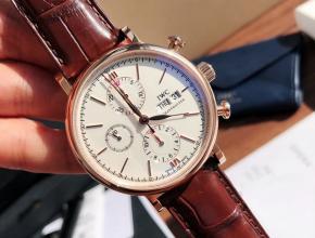 原单手表万国柏涛菲诺机械六针计时男装白盘红带手表