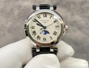 原单手表浪琴女士白盘黑带心月系列石英皮带手表