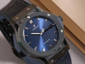 复刻手表宇舶男士黑盘黑带 款蓝色放射太阳纹经典融合系列机械手表