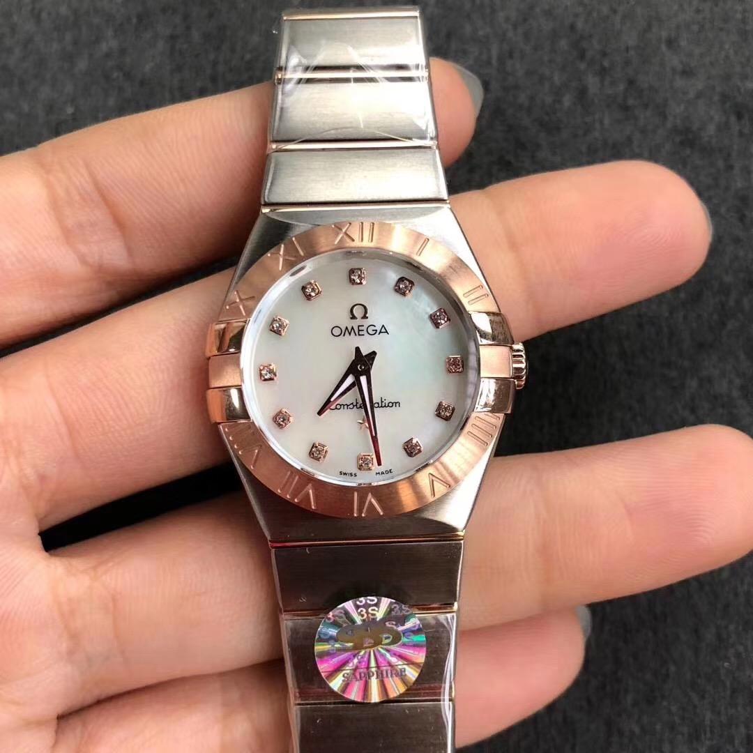 3s欧米茄星座系列27mm玫瑰金女表顶级复刻