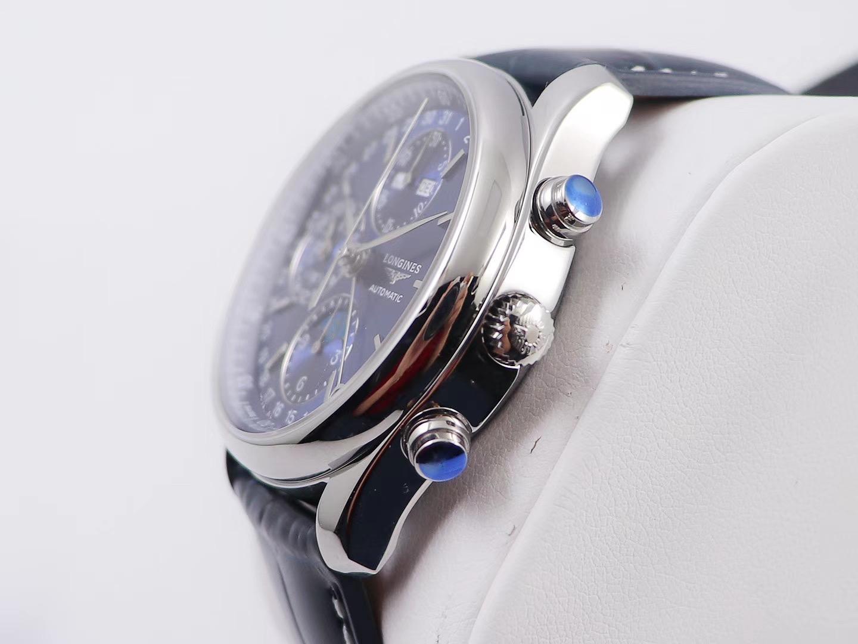 浪琴名匠八针月相计时蓝色复刻手表——优雅柳叶针