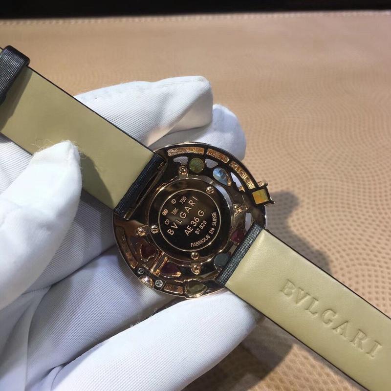 宝格丽 18K玫瑰金 镶嵌天然宝石和钻石 瑞士石英机芯