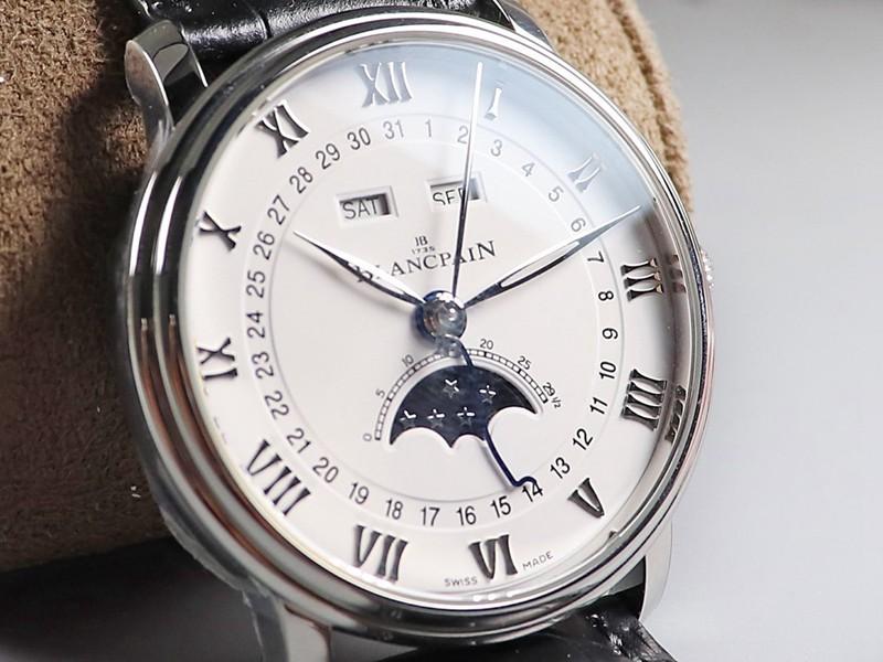 宝珀OM复刻villeret手表经典6654全新V3升级版真月相白盘