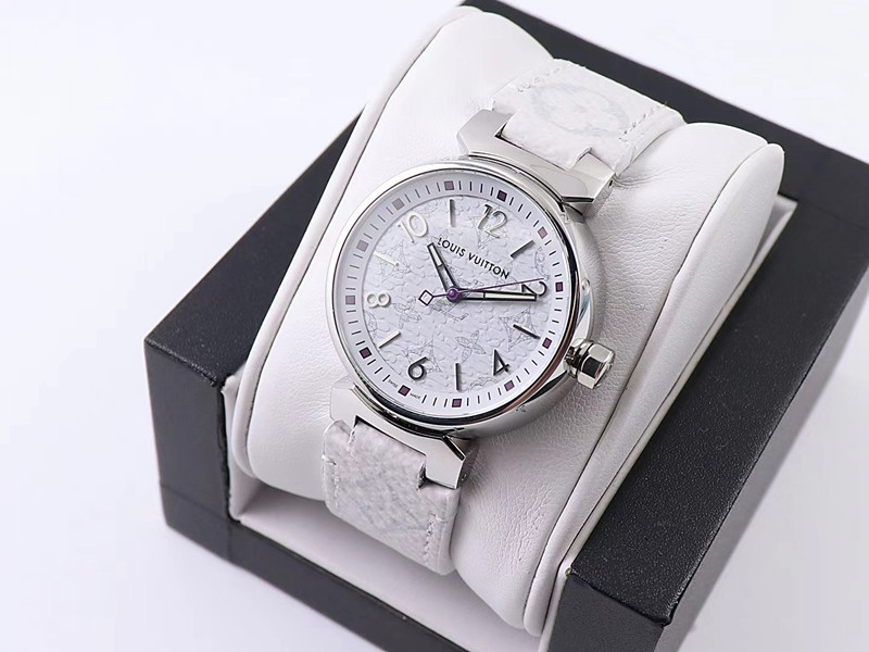 复刻LV女士手表34毫米白色表盘高级质感石英腕表