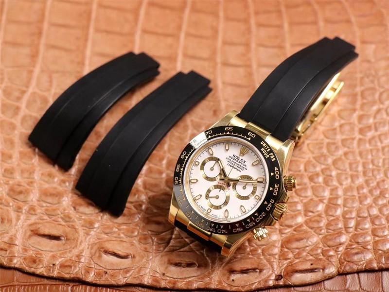 N厂精仿劳力士手表迪通拿橡胶表带黄金色陶瓷圈4130